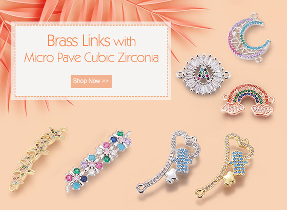 Brass Links with Micro Pave Cubic Zirconia