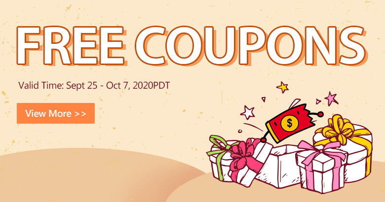 Free Coupons Valid Time: Sept 25 - Oct 7, 2020PDT