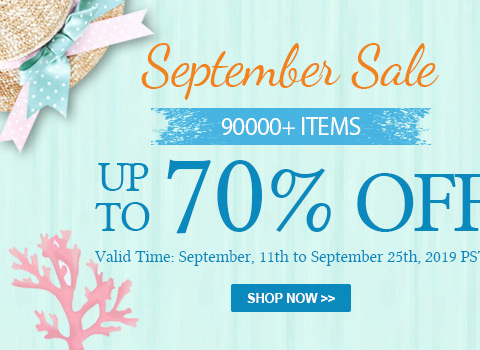 September Sale 90000+ Items Up to 70% OFF